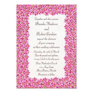 Pink Stargazer Lily Garden Wedding Invitation