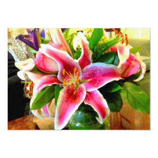 pink stargazer lily invitation card