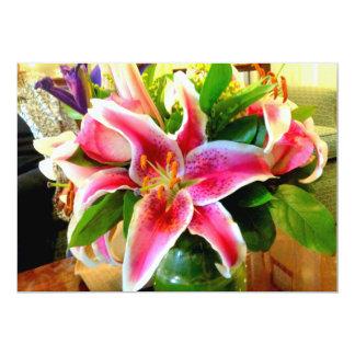 pink stargazer lily invitation card