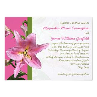 Pink Stargazer Lily Wedding invitation