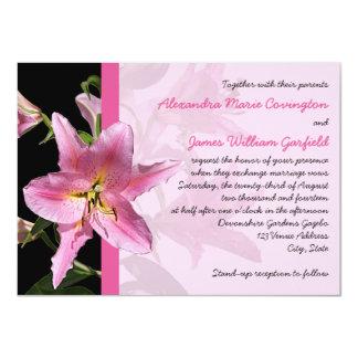 "Pink Stargazer Lily Wedding invitation 2 4.5"" X 6.25"" Invitation Card"
