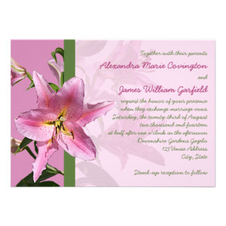 Pink Stargazer Lily Wedding invitation 3