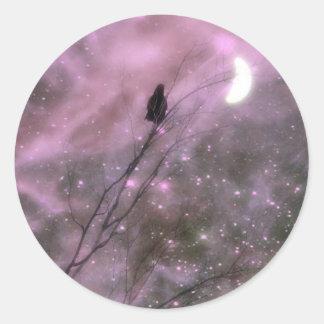 Pink Starry Night Round Sticker