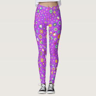 Pink Stars and Flowers Cornucopia Girls Leggings