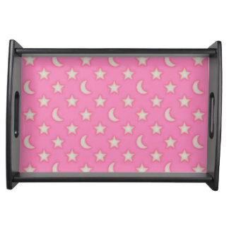 Pink stars and moons pattern serving tray