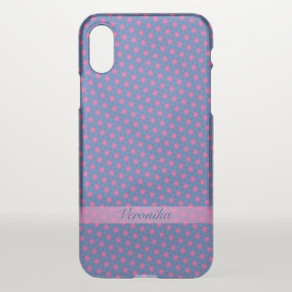 Pink stars on a blue background iPhone x case