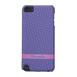 Pink stars on a blue background iPod touch (5th generation) case