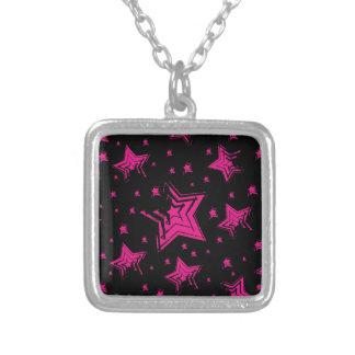 Pink stars on black background.jpg custom necklace