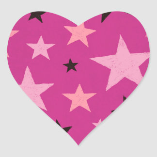 Pink Stars Pattern 2 Heart Sticker