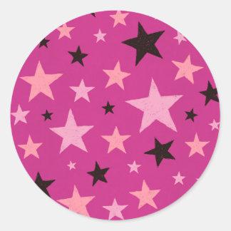 Pink Stars Pattern 2 Round Sticker