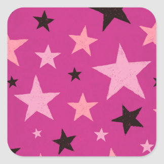 Pink Stars Pattern 2 Square Sticker