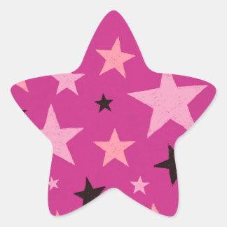 Pink Stars Pattern 2 Star Sticker
