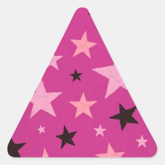 Pink Stars Pattern 2 Triangle Sticker