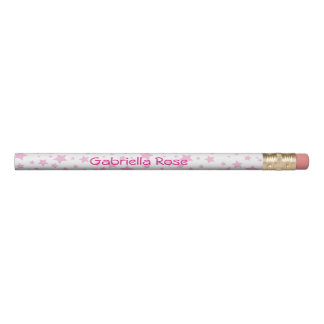 Pink Stars Personalized Pencil