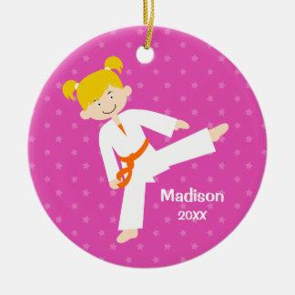Pink Stars Taekwondo Blonde Girl Personalized Round Ceramic Ornament