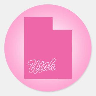 Pink State Utah Classic Round Sticker