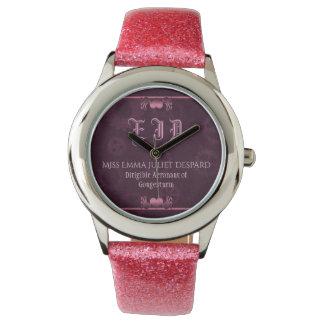 Pink Steampunk Monogram, metallic hearts, cogs Wristwatches