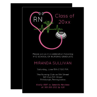 Pink Stethoscope EKG Nursing Graduation Party Card