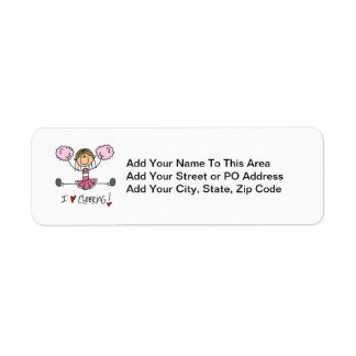 Pink Stick Figure Cheerleader T-shirts and Gifts Return Address Label