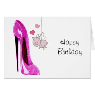 Pink Stiletto and Flying Pig Art Greeting Card