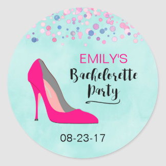 Pink Stiletto Heel Bachelorette Party Classic Round Sticker