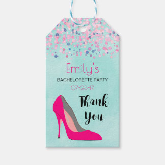 Pink Stiletto Heel Bachelorette Party Thank You Gift Tags