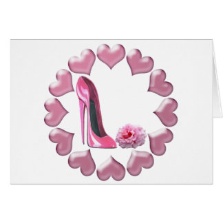 Pink Stiletto, Rose and Hearts Card