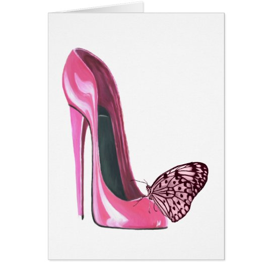 Pink Stiletto Shoe and Butterfly Card