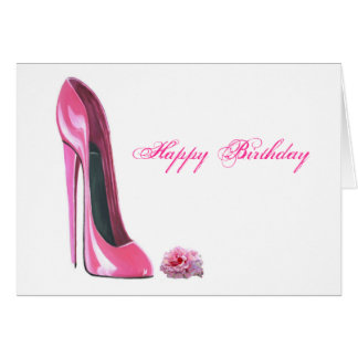 Pink Stiletto Shoe and Rose Card