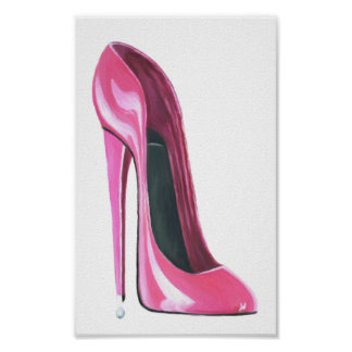 Pink Stiletto Shoe Art Poster