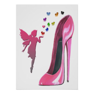 Pink Stiletto Shoe, Fairy and Hearts Poster