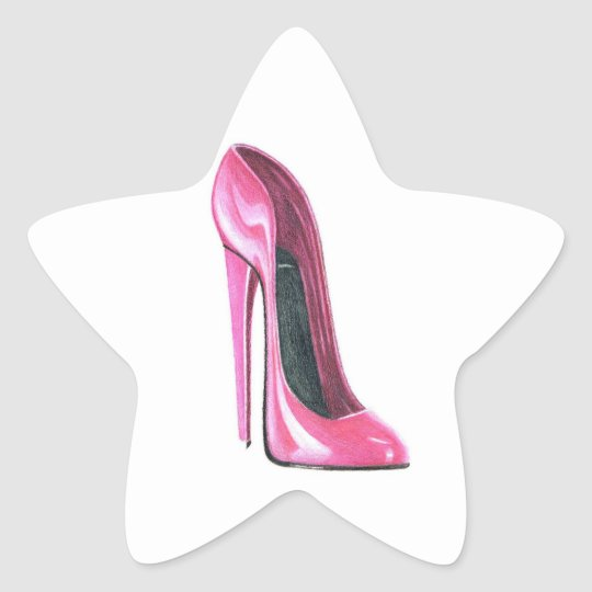 Pink Stiletto Shoe Star Sticker