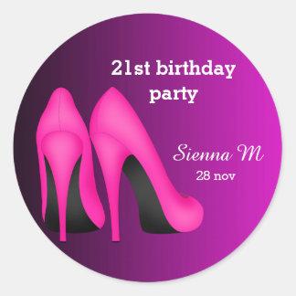 Pink Stilettos birthday Classic Round Sticker