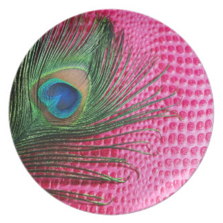 Pink Still Life with Peacock Feather Plate