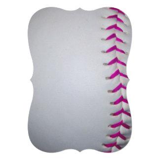 Pink Stitches Softball Invitation