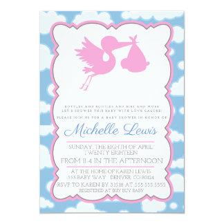 Pink Stork Baby Shower Invitation