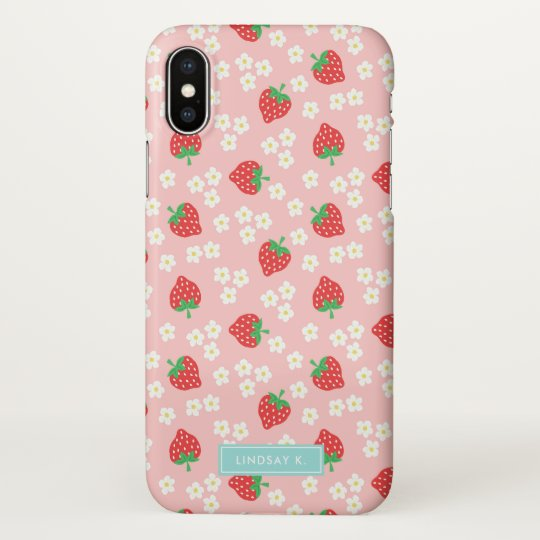 Pink Strawberries & Blossom - Name iPhone X Case