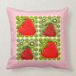 PINK STRAWBERRIES GREEN KIWI FRUIT ART THROW PILLOW