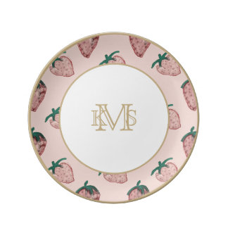 Pink Strawberries Repeated on Pale Pink Porcelain Plates
