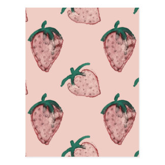 Pink Strawberries Repeated on Pale Pink Postcard