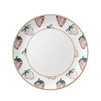 Pink Strawberries Tiled on Creamy White Background Porcelain Plate