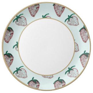 Pink Strawberries Tiled on Ice Blue Background Porcelain Plates
