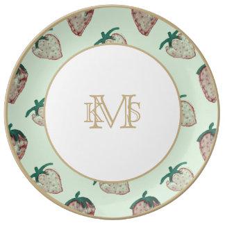 Pink Strawberries Tiled on Mint Green Porcelain Plate