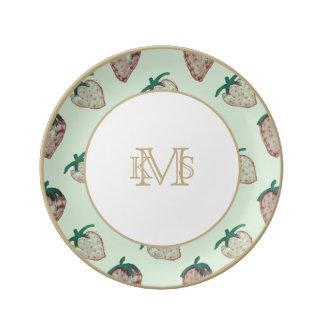 Pink Strawberries Tiled on Mint Green Porcelain Plates