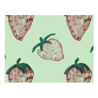 Pink Strawberries Tiled on Mint Green Postcard