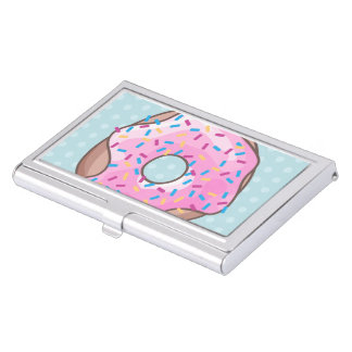 Pink Strawberry Donut Business Card Cases