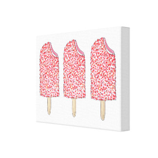 Pink Strawberry Eclair Popsicles Popsicle Art Canvas Print