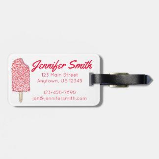Pink Strawberry Ice Cream Popsicle Custom Bag Tag