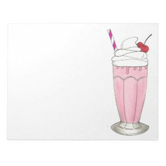 Pink Strawberry Ice Cream Shake Milkshake Dessert Notepad