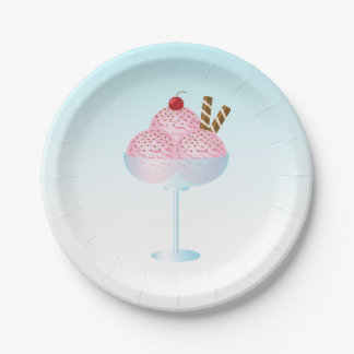 Pink Strawberry Ice Cream Sundae 7 Inch Paper Plate